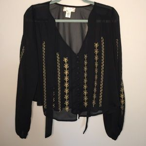 Band of Gypsies Yoryu Embellished Blouse